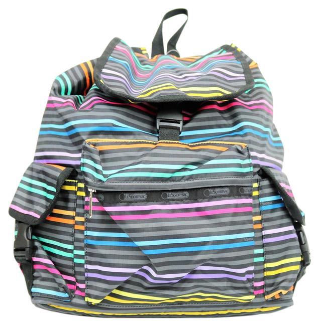 Item - Colorful Striped B78 Multicolor Nylon Backpack