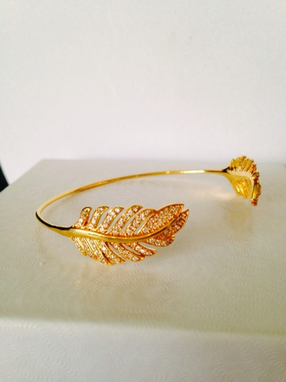 Tai 14kt Yellow Gold-Plated & Crystal Feather Pinch Bracelet Image 2