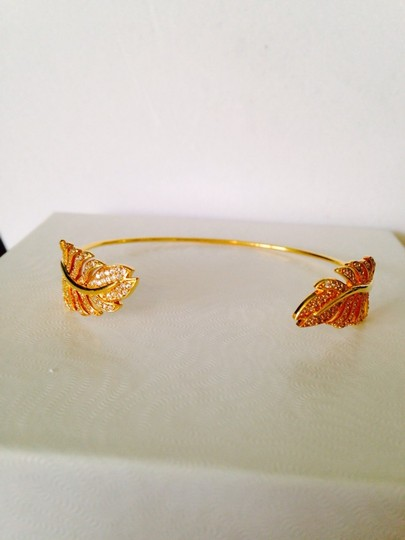 Tai 14kt Yellow Gold-Plated & Crystal Feather Pinch Bracelet Image 3