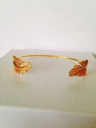 Tai 14kt Yellow Gold-Plated & Crystal Feather Pinch Bracelet Image 4