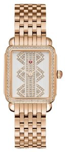 Michele $3200 NWT 'Deco ll' Mid Rose Gold, Pattern Diamond Dial MWW06I000021