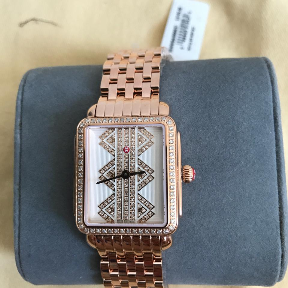 Mon Coach Deco michele rose gold 'deco ll' mid pattern diamond dial mww06i000021 watch 38%  off retail