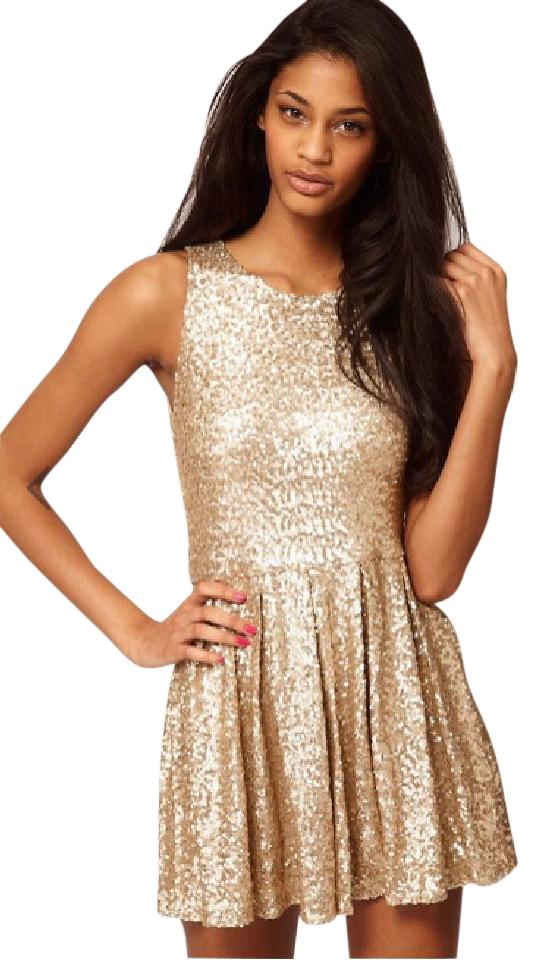 TFNC Gold Sequin Short Cocktail Dress Size 4 (S) - Tradesy