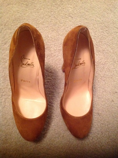 Christian Louboutin Bibi Suede Leather Redsoles Heels Redbottoms Style Tan Platforms