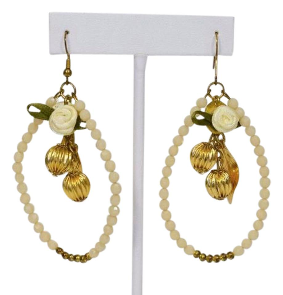 Beige gold and beads rose chandelier earrings tradesy fashion gold and beige beads rose chandelier fashion earrings arubaitofo Choice Image