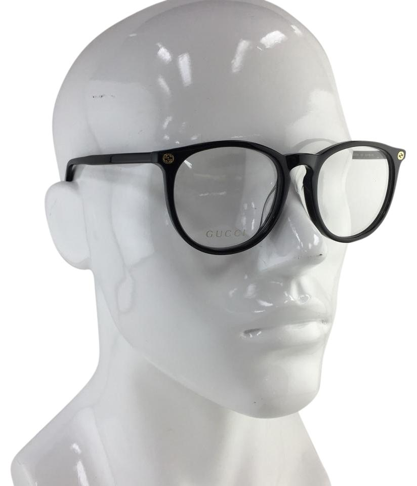 61fd4b890eb Gucci Authentic Unisex Asian Fit Round GG00270A 001 Black Gold Logo  Eyeglasses Image 0 ...