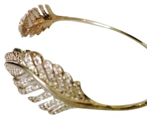 Tai Rhodium Over Sterling Silver Crystal Feather Pinch Bracelet