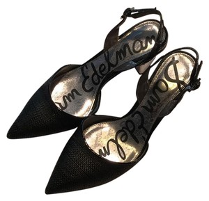 Sam Edelman black with metallic silver heel Pumps