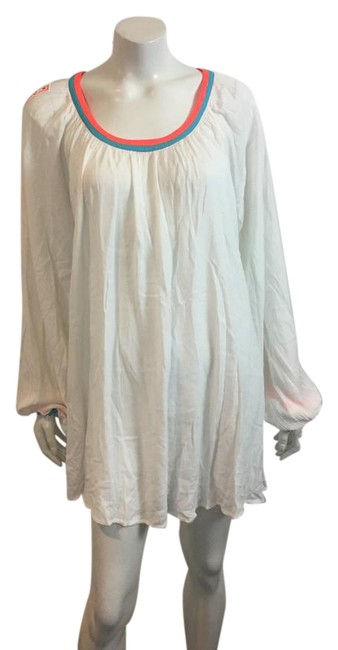 Item - White XS W 12617 Coverup W/ Embellished Sleeves Mid-length Short Casual Dress Size 0 (XS)
