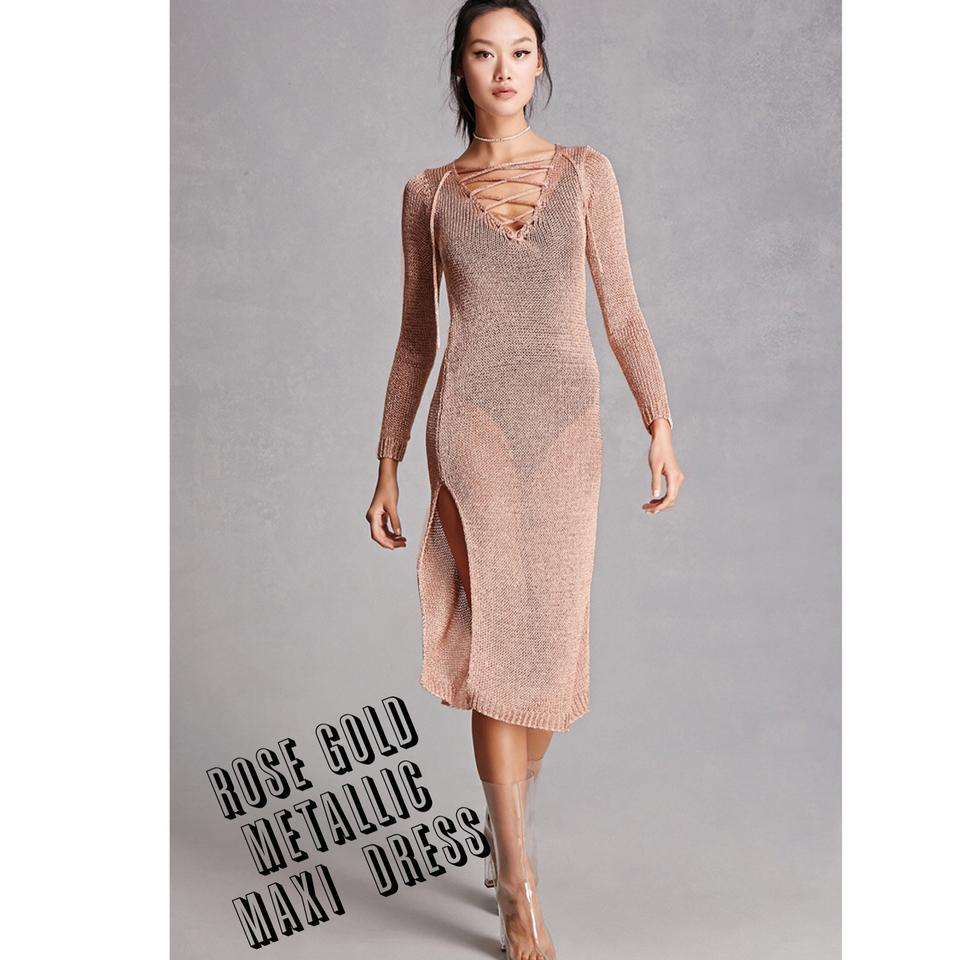 cdc4ea0f75382 Rose Gold Lace Maxi Dress - raveitsafe