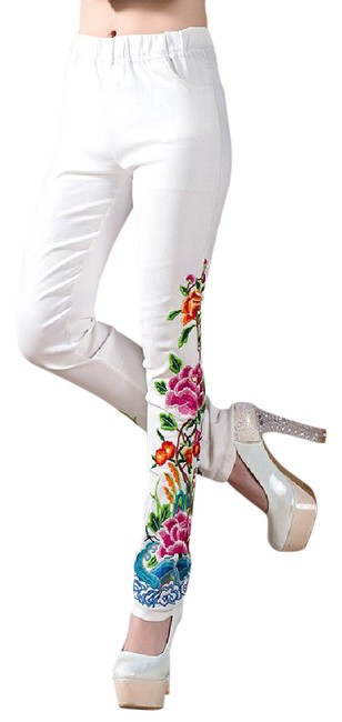 Preload https://img-static.tradesy.com/item/21600918/white-new-embroidery-flowers-elastic-waist-long-pant-skinny-jeans-size-26-2-xs-0-1-650-650.jpg
