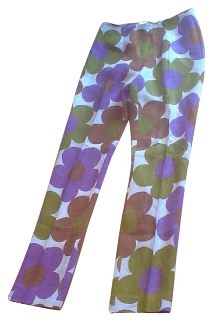 Item - Beige Background with Purple Olive and Warm Brown Flowers #21022/0076 Pants Size 4 (S, 27)