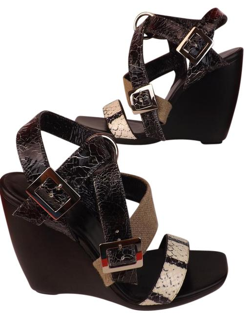 Item - Black Cracked Snakeskin Patent Leather Strappy Sandals 8 Wedges Size EU 38 (Approx. US 8) Regular (M, B)