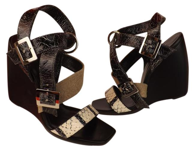 Item - Black Cracked Snakeskin Patent Leather Strappy Sandals 7 Wedges Size EU 37 (Approx. US 7) Regular (M, B)
