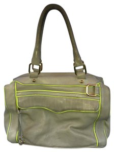 Rebecca Minkoff Leather Morning After Leather Mab Shoulder Satchel in Gray with Lime Green Trim