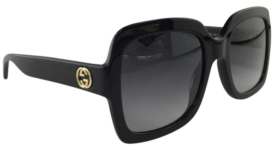 187fe33958 Gucci Authentic Oversized GG0036S 001 Black Grey Gold Logo On Temple  Sunglasses Image 0 ...