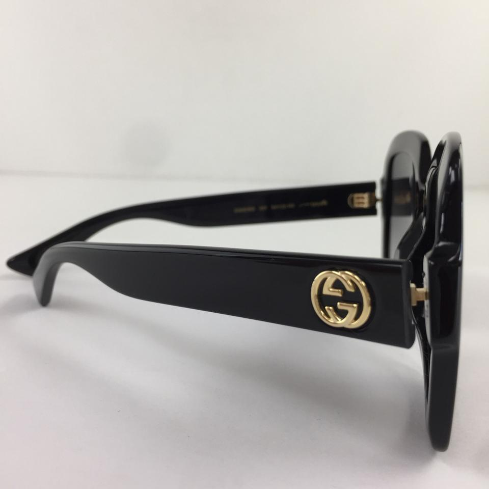 2a2f935a57 Gucci Authentic Oversized GG0036S 001 Black Grey Gold Logo On Temple  Sunglasses Image 11. 123456789101112