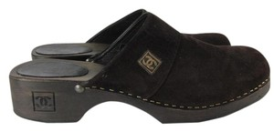 Chanel Cc Leather Sandal Flat Brown Mules