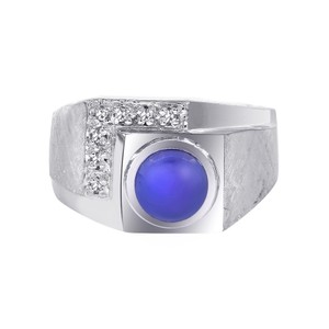 Avital & Co Jewelry 1.00ct Man Made Star Sapphire Diamond Accent Mans Ring 14K White Gold