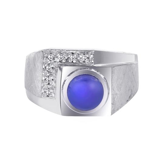Preload https://img-static.tradesy.com/item/21601292/avital-and-co-jewelry-14k-white-gold-100ct-man-made-star-sapphire-diamond-accent-mans-ring-0-0-540-540.jpg