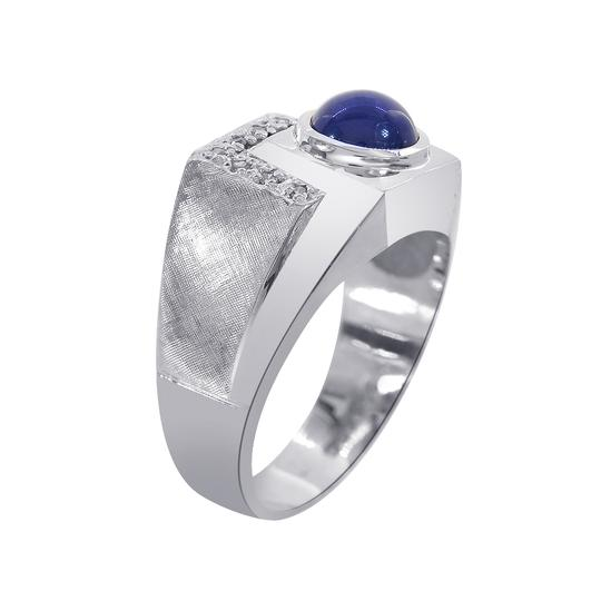Avital & Co Jewelry 1.00ct Man Made Star Sapphire Diamond Accent Mans Ring 14K White Gold Image 1