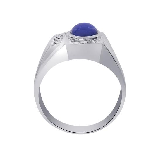 Avital & Co Jewelry 1.00ct Man Made Star Sapphire Diamond Accent Mans Ring 14K White Gold Image 3