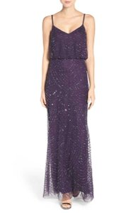 Adrianna Papell Amethyst/Gunmetal Polyester 091866700 Feminine Bridesmaid/Mob Dress Size 2 (XS)