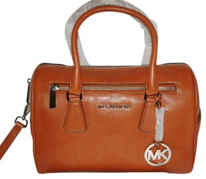 Michael Kors Sophie Brown Leather Satchel in Cedar