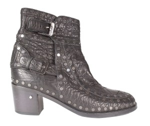 Laurence Dacade Stud Punched Leather Black Boots