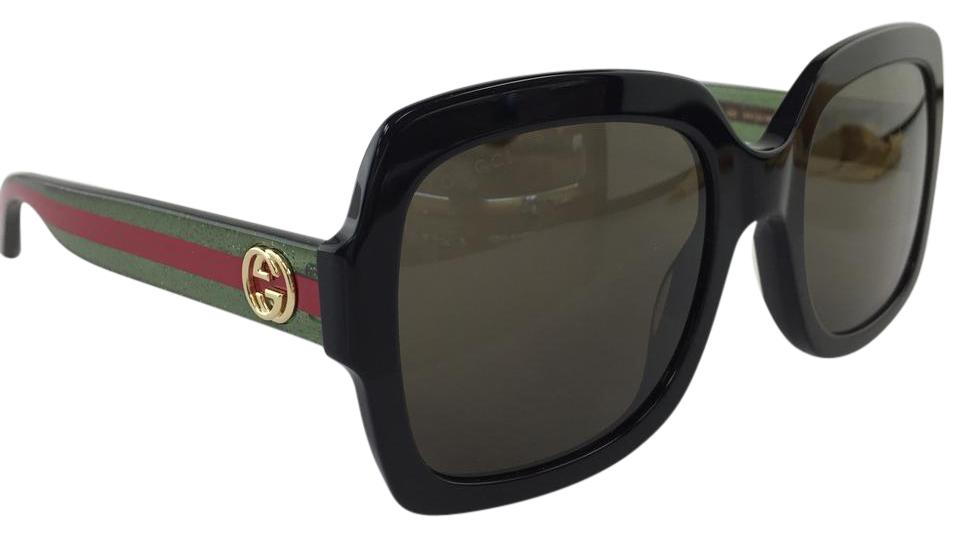 5a13a1e9f74 Gucci Authentic Oversized Black GG0036S 002 Green Lens Gold Red Logo Temple  Sunglasses Image 0 ...
