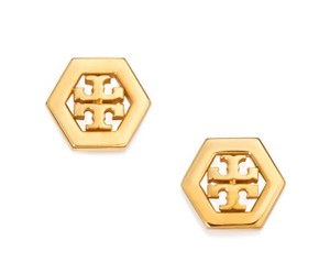 Tory Burch New Tory Burch Small Hex-Logo Studs in 16k Gold