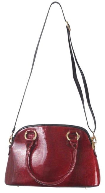 Item - Croc Pattern Enamel Coated Dome Red Calfskin Leather Satchel