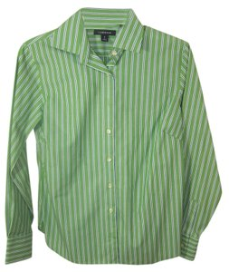 Lands End Button Down Shirt green white black stripes