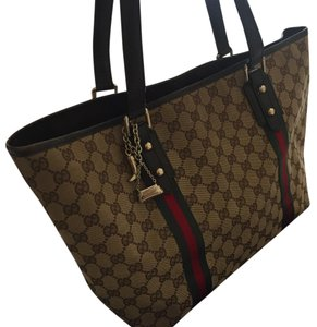 076fc463ee6f Gucci Jolicouer 139260 Beige & Brown Signature Gg Canvas Leather ...
