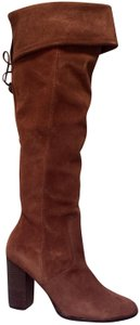 41e5495dd700 M4D3 Suede Leather Almond Toe Padded Topstitched Chocolate Boots