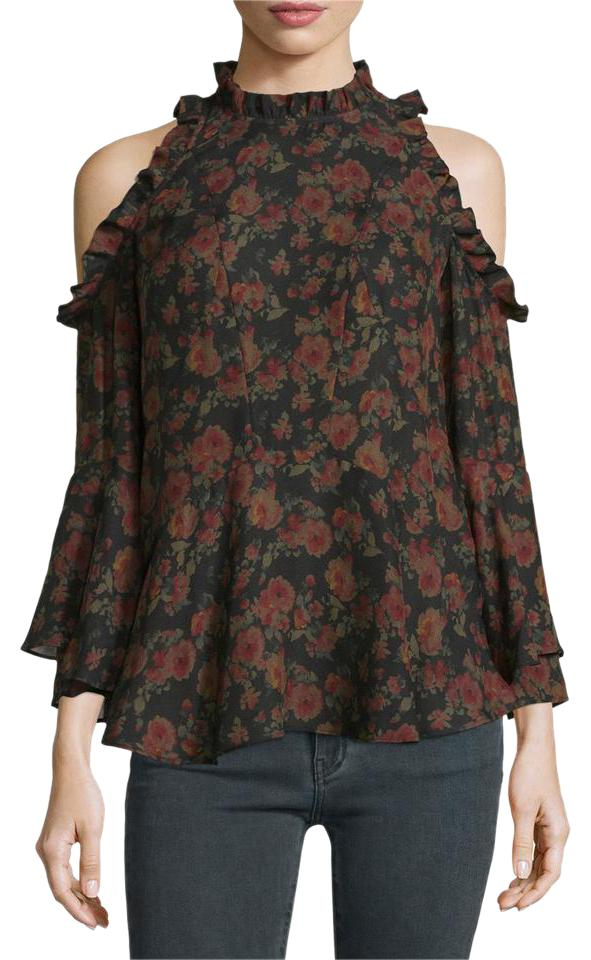 a38ee93a338c86 IRO Eloane Floral Off The Cold Shoulder Cutout Ruffle Blouse Size 4 ...