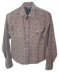 Lauren Ralph Lauren Western Button Down Shirt Brown with small white green blue flowers