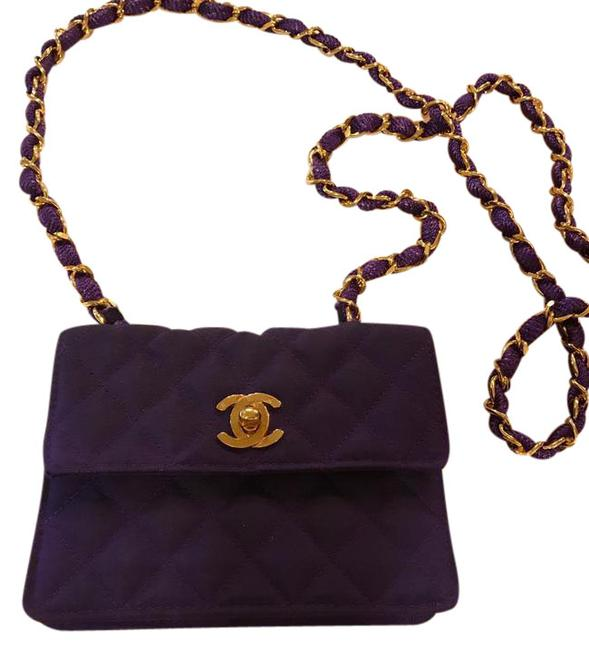 Item - Extra Mini Square Quilted Flap Purple with Gold Hardware Canvas Cross Body Bag