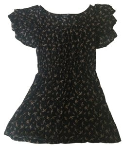 Forever 21 Top Black/Tan Birds