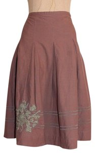 Anthropologie Pleated Embroidered Taupe Odille Skirt BROWN