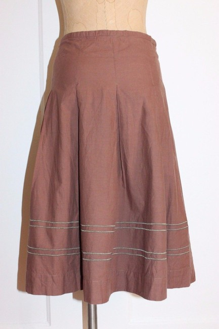 Anthropologie Pleated Embroidered Taupe Odille Skirt BROWN Image 1