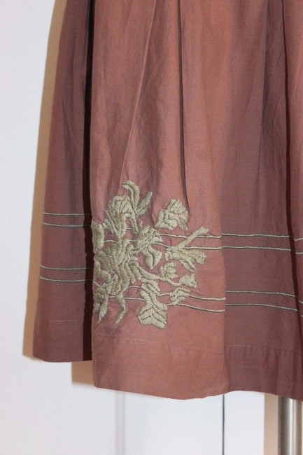 Anthropologie Pleated Embroidered Taupe Odille Skirt BROWN Image 3