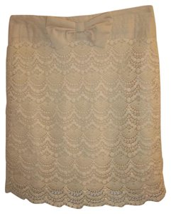 Ya Los Angeles Lace Bow Layered Comfortable Above The Knee Skirt Cream