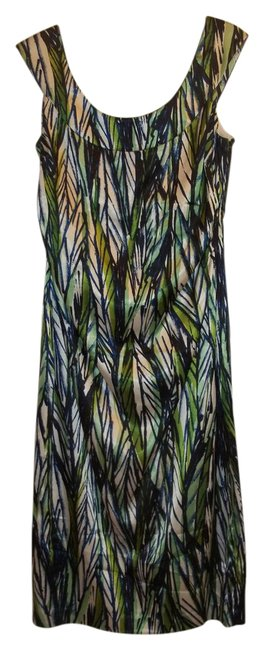 Item - Black Green Blue White Rn#58142 Mid-length Night Out Dress Size 8 (M)