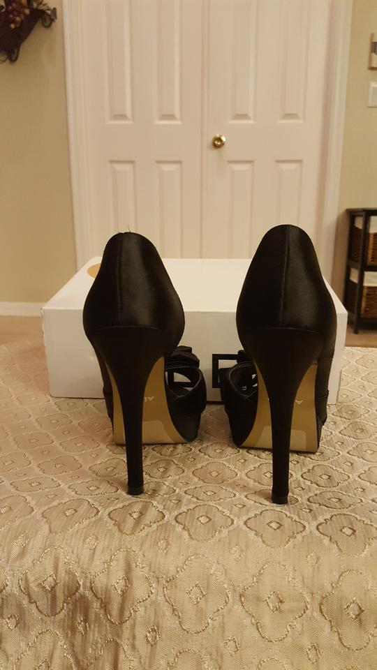 2bdfe97f2ca ALDO Black Satin Peep Toe Heels with Bows Platforms Size US 8 Regular (M,  B) 42% off retail