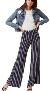 Reformation Wide Leg Pants Navy Blue / White / Pinstripe