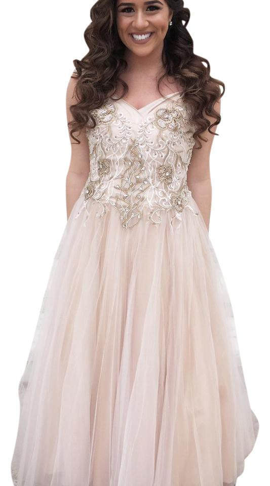 Jovani Champagne Cap Sleeve Evening Ball Gown Long Formal Dress Size ...