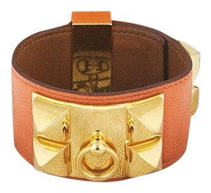 Hermès HERMES Orange Swift Leather Gold Plated Collier de Chien Cuff Bracele