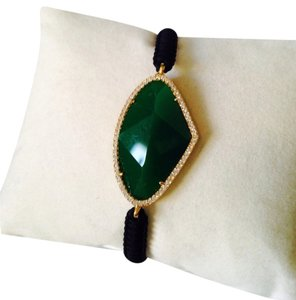 Tai Faceted Green Onyx Gemstone & Crystal Cord Bracelet