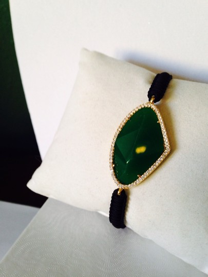 Tai Faceted Green Onyx Gemstone & Crystal Cord Bracelet Image 2